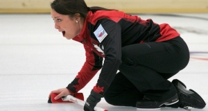 Kelsey Rocque calls the line during the gold medal game at the 2014 World Junior Championships (Photo WCF/Richard Gray)