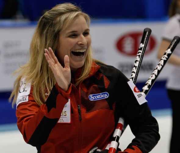Jennifer Jones waves to fans after her team's win on Tuesday night. (Photo, WCF/Richard Gray)