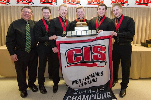 University of Alberta Golden Bears, CIS Men's Curling Champions (l-r): coach Rob Krepps, lead Andrew O'Dell, second Jason Ginter, third Evan Asmussen, skip Thomas Scoffin (Photo Trevor Mahoney)