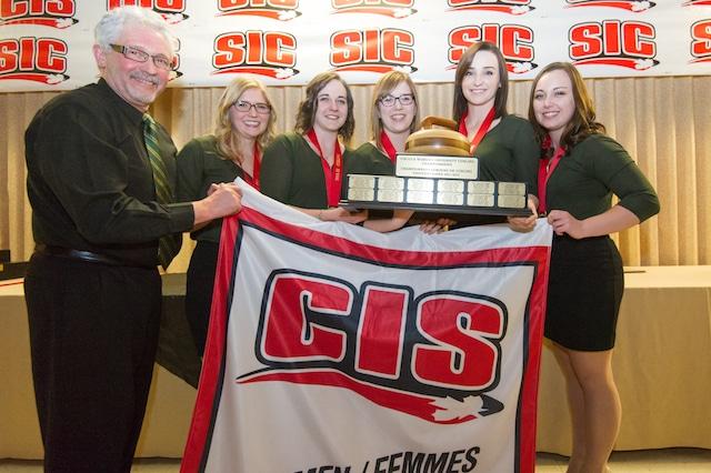 University of Alberta Pandas, CIS Women's Curling Champions (l-r): coach Gary Coderre, lead Alison Kotylak, second Claire Tully, third Taylor McDonald, skip Kelsey Rocque (Photo Trevor Mahoney)
