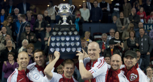 2015, Calgary Ab, Tim Hortons Brier, Team Canada skip Pat Simmons, third John Morris, second Carter Rycroft, lead Nolan Thiessen, Curling Canada/michael burns photo