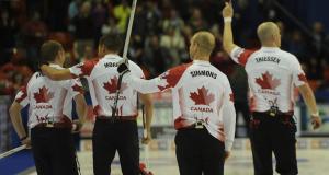 2015, Halifax N.S. Ford Men's World Curling Championship, Canada skip Pat Simmons, third john Morris, lead Nolan Thiessen, second Carter Rycroft, Curling Canada/michael burns photo