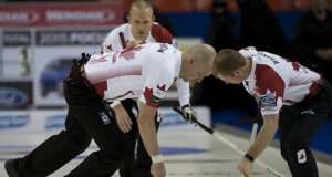2015, Halifax N.S. Ford Men's World Curling Championship. Canada skip Pat Simmons,lead Nolan Thiessen, second Carter Rycroft, Curling Canada/michael burns photo