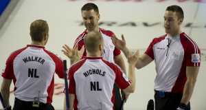 2015, Calgary Ab, Tim Hortons Brier, N.L. skip Brad Gushue, third Mark Nichols, lead Geoff Walker, second Brett Gallant, Curling Canada/michael burns photo