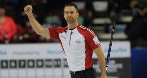 2015, Calgary Ab, Tim Hortons Brier, N.L. skip Brad Gushue, Curling Canada/michael burns photo
