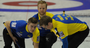 2015, Halifax N.S. Ford Men's World Curling Championship, Sweden skip Niklas Edin, lead Christoffer Sundgren, second Kristian Lindstrom, Curling Canada/michael burns photo
