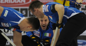 2015, Halifax N.S. Ford Men's World Curling Championship, Italy skip Joel Retornaz,  lead Andrea Pilzer, second Daniele Ferrazza, Curling Canada/michael burns photo