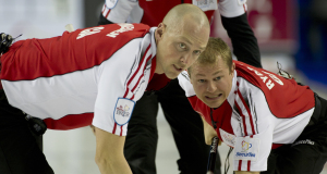 2015, Calgary Ab, Tim Hortons Brier.Team Canada third Pat Simmons, lead Nolan Thiessen, second Carter Rycroft, Curling Canada/michael burns photo