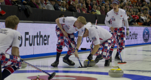 2015, Halifax N.S. Ford Men's World Curling Championship. Norway  skip Thomas Ulsrud,third Torger Nergard, second Christoffer Svae,lead Havard Vad Petersson, Curling Canada/michael burns photo