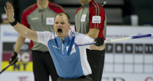 2015, Calgary Ab, Tim Hortons Brier, Quebec third Matin Crete, Curling Canada/michael burns photo