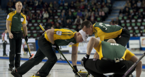 2015, Calgary Ab, Tim Hortons Brier, Northern Ontario skip Brad Jacobs, third Ryan Fry, second E.J.Harnden, lead Ryan Harnden, Curling Canada/michael burns photo