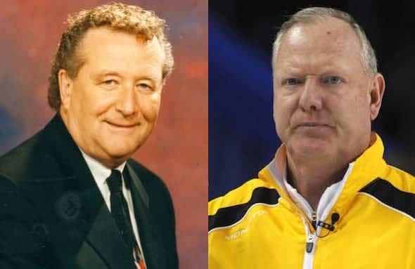 Ray Turnbull, à gauche, et Russ Howard sont intronisés au curling Temple de la renommée.