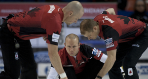 2015, Halifax N.S. Ford Men's World Curling Championship. Canada skip Pat Simmons, lead Nolan Thiessen, second Carter Rycroft, Curling Canada/michael burns photo