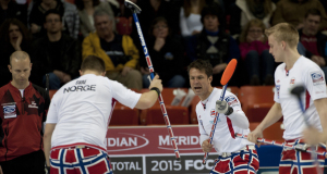 2015, Halifax N.S. Ford Men's World Curling Championship, Norway skip Thomas Ulsrud, lead Havard Vad Peterssen, second Chritoffer Svae,  Curling Canada/michael burns photo