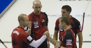 2015, Halifax N.S. Ford Men's World Curling Championship, Canada skip Pat Simmons, third John Morris, lead Nolan Thiessen, second Carter Rycroft, Curling Canada/michael burns photo
