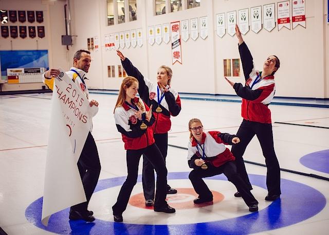 Gold medallists, Team Ontario, ham it up after the medal ceremony (Kayla MacMillan, Sarah Daviau, Lindsay Dubue and Marcia Richardson) (Detour Photography)
