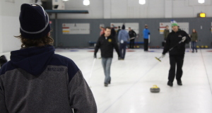 Action on the ice at the Royal Canadian Curling Club in Toronto (Photo Brian Chick)