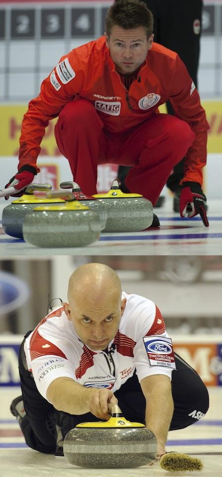 Mike McEwen, en haut, et son équipe de Winnipeg ont ajouté le vétéran Jon Mead, ci-dessous, à la queue pour remplir une variété de rôles dans la saison 2015-16. (Photos, Curling Canada, Michael Burns)