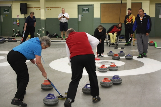 Summit participants took to the ice at the Collingwood Curling Club on Monday evening for a mini-bonspiel and BBQ  (Photo Curling Canada/Brian Chick)