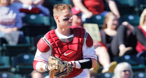 Chris Shaw sees a lot of similarities in his role as a catcher and a skip. Both positions require him to be aware of what is going on around him at all times, including during this Feb. 14 game against Southern Illinois-Edwardsville. (Photo courtesy University of Oklahoma Athletics)