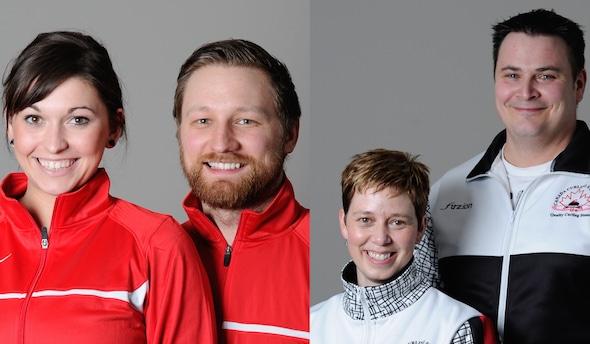 Les dernières deux doubles champions canadiens mixtes - Kalynn Park et Charley Thomas, à gauche, et Kim Tuck et Wayne Tuck, droit - seront en compétition dans Jeux d'hiver de la Nouvelle-Zélande de l'Audi quattro.