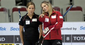 2015 World Financial Group Continental Cup Curling, Calgary AB, Jennifer Jones, Kaitlyn Lawes, CCA/michael burns photo