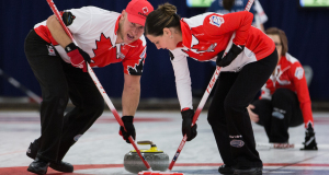 Chris and Teejay Haichert in action at the World Mixed Curling Championship in Berne, Switzerland (Photo WCF/Céline Stucki)