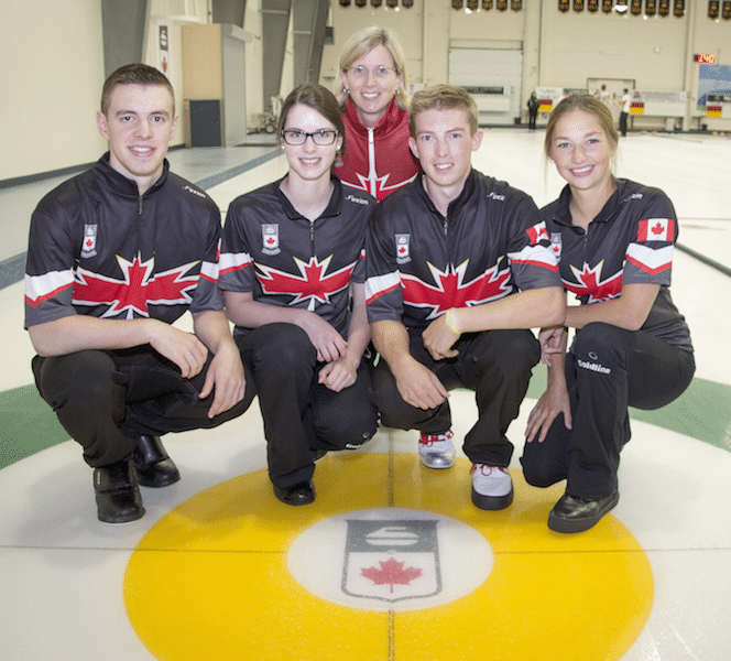 Team Canada: Tyler Tardi, Mary Fay, coach Helen Radford, Stirling Middleton, Karlee Burgess (Photo courtesy H. Radford)