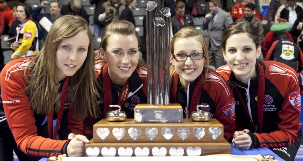 Team Ontario wins the Scotties. Rachel Homan, Emma Miskew, Alison Kreviazuk, Lisa Weagle, fifth Stephanie LeDrew coach Earl Morris. The 2013 Scotties Tournament of Hearts, February 16-24, Kingston Onatrio, The Canadian Womans Curling Championship.