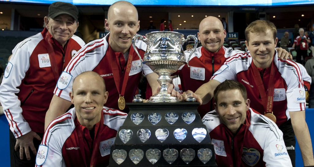 2015, Calgary Ab, Tim Hortons Brier, Team Canada skip Pat Simmons, lead Nolan Thiessen, second Carter Rycroft, Curling Canada/michael burns photo