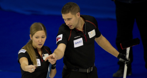 2015 World Financial Group Continental Cup Curling, Calgary AB, Kaitlyn Lawes, John Morris, CCA/michael burns photo