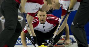 2015, Calgary Ab, Tim Hortons Brier, N.L. skip Brad Gushue, lead Geoff Walker, second Brett Gallant, Curling Canada/michael burns photo