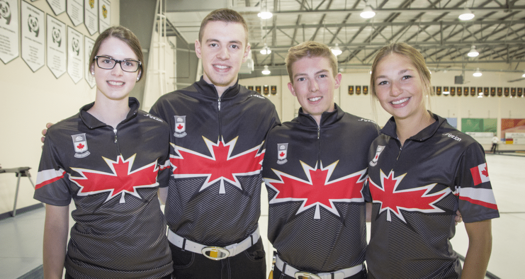 """""""We are really beginning to come together as a team,"""" says Karlee Burgess of Canada's Youth Olympics team after the end of summer training. From left to right, Mary Fay, Tyler Tardi, Burgess and Sterling Middleton (Photo courtesy H. Radford)"""