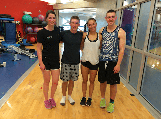 (From left to right) Team Canada's Mary Fay, Sterling Middleton, Karlee Burgess and Tyler Tardi in the gym at the end of summer training (Photo courtesy Karlee Burgess)
