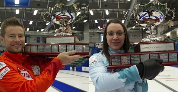 Les champions de 2014 Home Hardware de la Coupe Canada, Mike McEwen et Val Sweeting, seront de retour cette année à Grande Prairie pour défendre leurs titres. (Photos, Curling Canada / Michael Burns)
