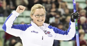 Team BC, Skip Kelly Scott wins playoff one at The 2012 Scotties Tournament of Hearts, February 18-26, Red Deer, Albeta. The Canadian Womans Curling Championship.
