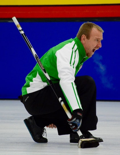Saskatchewan skip Bruce Korte calls to his sweepers during Draw 7 action at the 2016 Canadian Mixed Curling Championship in Toronto (Curling Canada/Sonja DiMarco Photo)