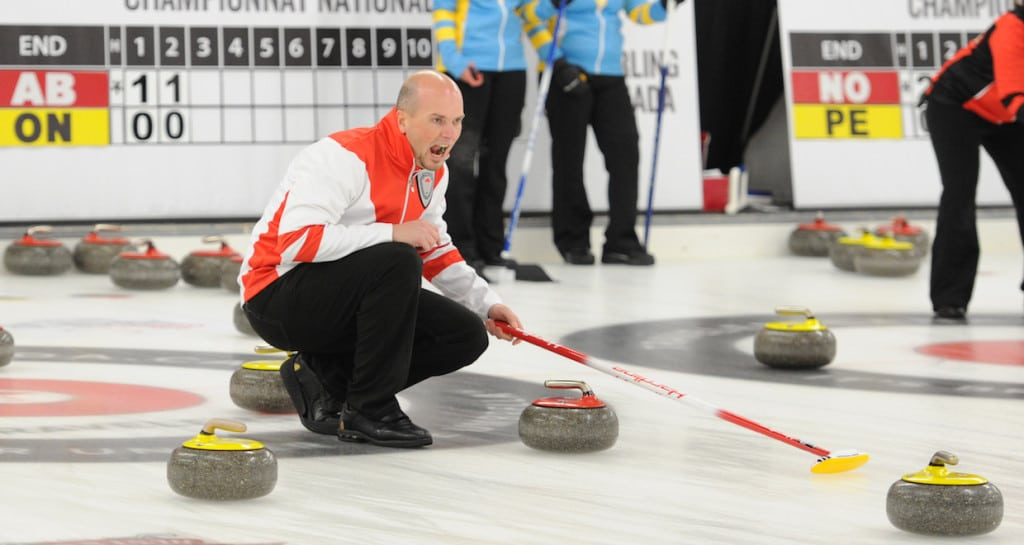 Newfoundland and Labrador skip Andrew Symonds calls to his sweepers during semifinal action at the Travelers Curling Club Championship in Ottawa (Curling Canada/Claudette Bockstael Photo)