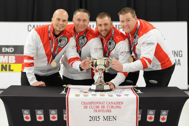 2015 Travelers Curling Club Championship Men's champions, Team Newfoundland and Labrador: skip Andrew Symonds, third Mark Healy, second Cory Ewart, lead Keith Jewer of the Re/Max Centre St. John's Curling Club in St. Johns, N.L. (Curling Canada/Claudette Bockstael Photo)