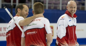 Grande Prarie AB, Dec 5, 2015, Home Hardware Canada Cup Curling, Men's Semi-Final. Team Koe, skip Kevin Koe, second Brent Laing, third Marc Kennedy, Curling Canada/ michael burns photo