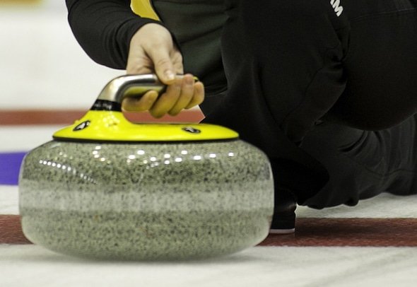 Team Northern Ontario skip Tracy Horgan throws her rock in fourth draw action at the 2015 Scotties Tournament of Hearts, the Canadian Womens Curling Championships, Moose Jaw, Saskatchewan