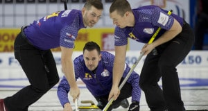 Grande Prarie AB, Dec 3, 2015, Home Hardware Canada Cup Curling,  Team Epping, skip John Epping, lead Tim March, second Pat Janssen, Curling Canada/ michael burns photo