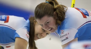 Grande Prarie AB, Dec 3, 2015, Home Hardware Canada Cup Curling, Team  Sweeting, lead Rachelle Brown, second Dana Ferguson, Curling Canada/ michael burns photo