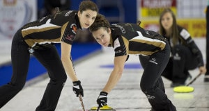 Grande Prarie AB, Dec 4, 2015, Home Hardware Canada Cup Curling, Team Homan, lead Lisa Weagle, second Joanne Courtney, skip Rachel Homan, Curling Canada/ michael burns photo