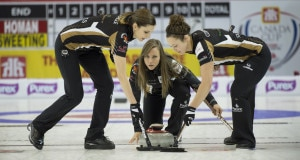 Grande Prarie AB, Dec 2, 2015, Home Hardware Canada Cup Curling, Team Homan, skip Rachel Homan, lead Lisa Weagle, Joanne Courtney, Curling Canada/michael burns photo