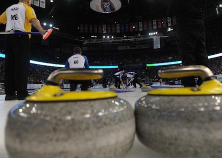 Rexall Place, au cours de 2013 Brier Tim Hortons. (Photo, Curling Canada / Michael Burns)