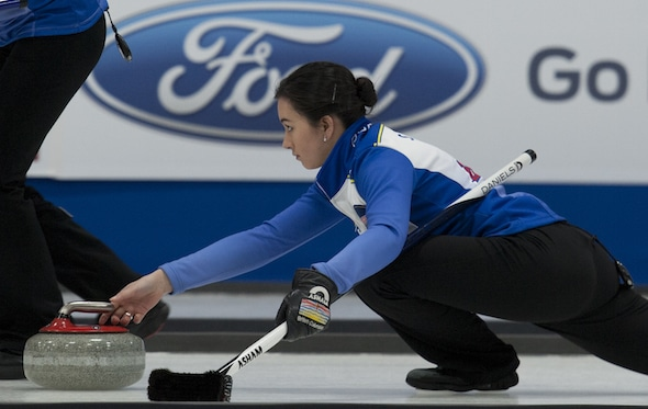 B.C. skip Sarah Daniels is headed to the gold-medal game at the 2016 Canadian Juniors. (Photo, Curling Canada/Michael Burns)