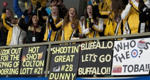 Stratford Ont.Jan 30 2016.Canadian Junior Curling Championship.Manitoba fans, Curling Canada/ michael burns photo