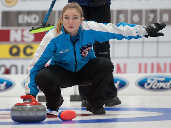 Quebec skip Laurie St-George calls off her sweepers during Wednesday's win over B.C. (Photo, Curling Canada/Bob Wilson)