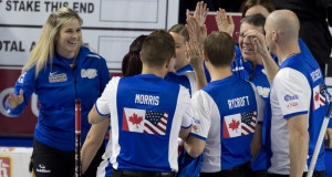 Las Vegas Nevada, Jan16, 2016.World Financial Group Continental Cup of Curling 2016. Team North America, celebrate after draw 8 against Team World. Curling Canada/ michael burns photo